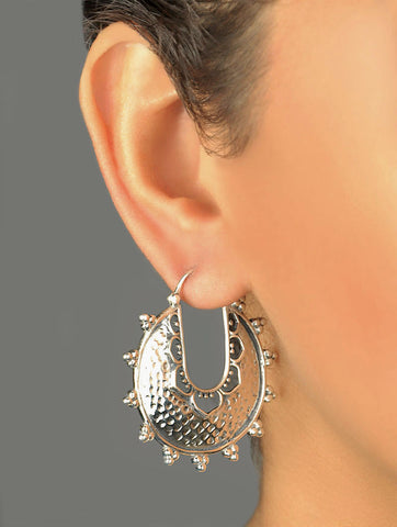Dramatic big round hammer finish hoops with rava work (PB-7400-ER) Earrings Sterling silver handcrafted jewellery. 925 pure silver jewellery. Earrings, nose pins, rings, necklaces, cufflinks, pendants, jhumkas, gold plated, bidri, gemstone jewellery. Handmade in India, fair trade, artisan jewellery.