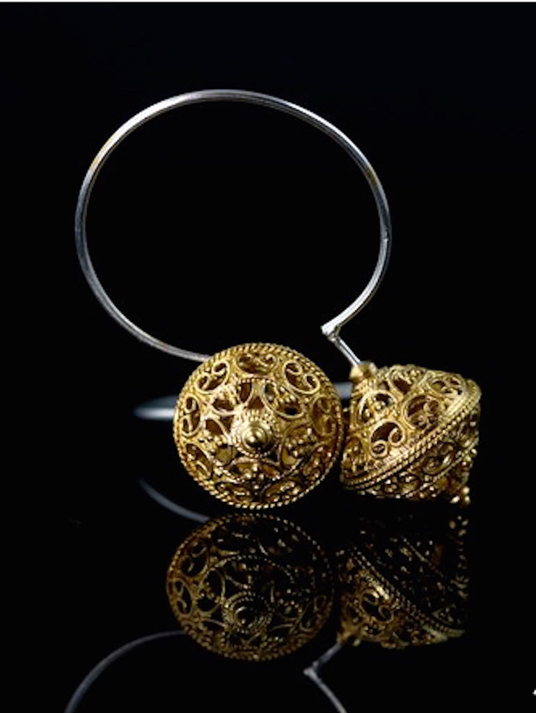 Beautiful dual tone open hoops with gold plated filigree bead (PB-1461-ER) -  - 1