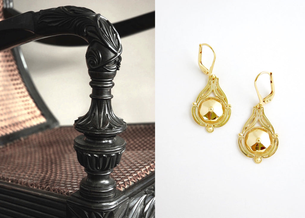 Quaint, facetted center, gold plated, filigree Victorian earrings [PB-10452-ER (G)]