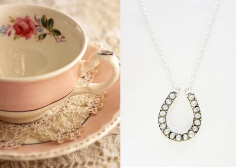 Dainty, pearl encrusted horse-shoe pendant necklace