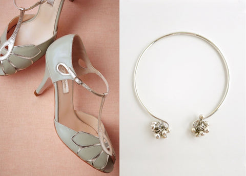 Artistic, bangle anklet with silver ball cluster- can also be worn as an arm band