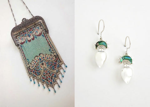 Dainty, Victorian, drop earrings with abalone (PB-10453-ER)