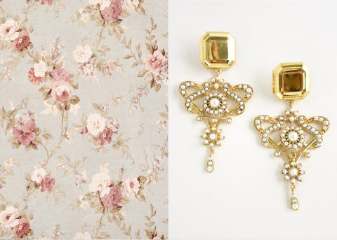 Magnificent, regal, gold plated, pearl encrusted statement earrings