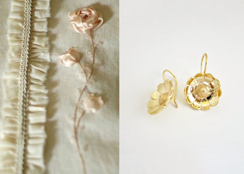Gold plated, buttercup flower Victorian earrings [PB-10451-ER (G)]