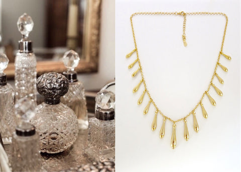 Gold plated classic string of drops Victorian necklace [PB-2222-N (G)]