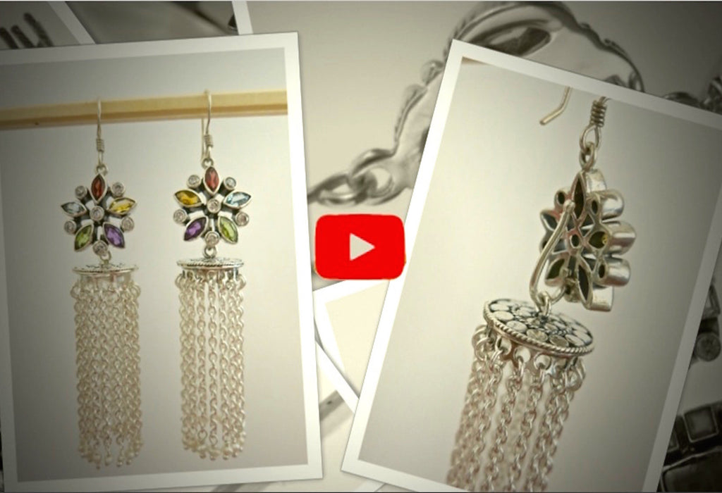 Detachable Jhumkas launch video- click to view!  Earrings Sterling silver handcrafted jewellery. 925 pure silver jewellery. Earrings, nose pins, rings, necklaces, cufflinks, pendants, jhumkas, gold plated, bidri, gemstone jewellery. Handmade in India, fair trade, artisan jewellery.