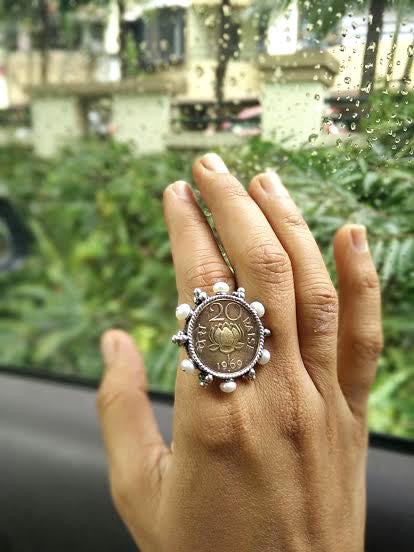 Gorgeous vintage lotus coin ring with pearl frame (PB-50-R)  Ring Sterling silver handcrafted jewellery. 925 pure silver jewellery. Earrings, nose pins, rings, necklaces, cufflinks, pendants, jhumkas, gold plated, bidri, gemstone jewellery. Handmade in India, fair trade, artisan jewellery.