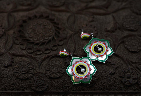 Stunning dramatic Mughal inspired lotus enamel earrings (PB-1509-ER)  Earrings Sterling silver handcrafted jewellery. 925 pure silver jewellery. Earrings, nose pins, rings, necklaces, cufflinks, pendants, jhumkas, gold plated, bidri, gemstone jewellery. Handmade in India, fair trade, artisan jewellery.
