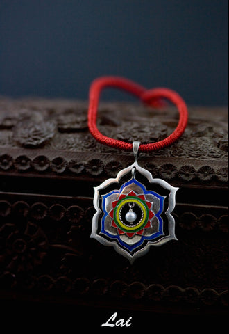 Exquisite, Mughal-inspired lotus enamel pendant with a pearl drop (available in 2 colorways)