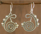 Dainty stylized twisted wire paisley earrings with pearls (PB-1438-ER) - Lai - 3