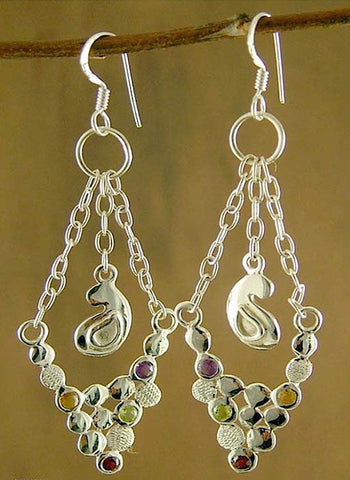 Elegant, paisley motif, gemstones studded, dangling chain earrings
