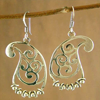 Beautiful chic paisley earrings with a jangling fringe of rings  (PB-1441-ER) - Lai - 1