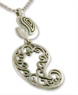 Playful, stunning, double paisley pendant with fine cutout detailing  Necklace, Pendant Sterling silver handcrafted jewellery. 925 pure silver jewellery. Earrings, nose pins, rings, necklaces, cufflinks, pendants, jhumkas, gold plated, bidri, gemstone jewellery. Handmade in India, fair trade, artisan jewellery.
