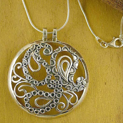 Dramatic big round entwined paisley statement pendant (PB-1429)