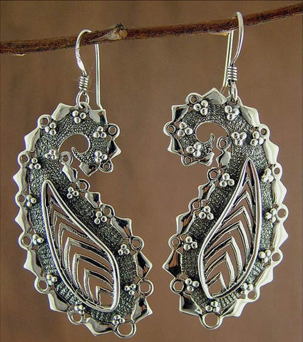 Exquisite stylized paisley long earrings (PB-1442-ER)  Earrings Sterling silver handcrafted jewellery. 925 pure silver jewellery. Earrings, nose pins, rings, necklaces, cufflinks, pendants, jhumkas, gold plated, bidri, gemstone jewellery. Handmade in India, fair trade, artisan jewellery.