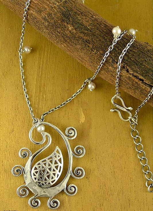 Quirky beautiful stylized paisley pendant with fine cutout detailing (PB-1433) - Lai - 1