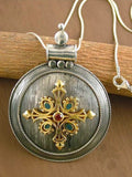 Dramatic big round pendant with garnet, blue enamel and gold plated detailing (PB-1450) -  - 3