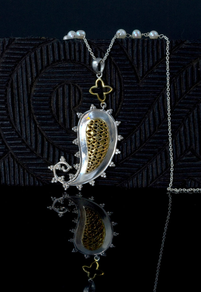 Exquisite paisley jali pendant with pearl accented chain (PB-1430-N)  Necklace, Pendant Sterling silver handcrafted jewellery. 925 pure silver jewellery. Earrings, nose pins, rings, necklaces, cufflinks, pendants, jhumkas, gold plated, bidri, gemstone jewellery. Handmade in India, fair trade, artisan jewellery.