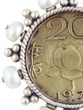 Glamorous vintage Indian coin studs with pearls (PB-1504-ER) - Lai - 3