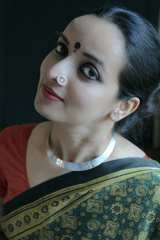 Stunning, pearl encrusted circular nose pin  Nose pin Sterling silver handcrafted jewellery. 925 pure silver jewellery. Earrings, nose pins, rings, necklaces, cufflinks, pendants, jhumkas, gold plated, bidri, gemstone jewellery. Handmade in India, fair trade, artisan jewellery.