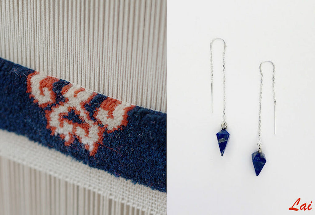 Chic hand facetted lapis threader earrings (PB-2500-ER)  Earrings Lai designer sterling silver 925 jewelry that is global culture inspired artisanal handcrafted handmade contemporary sustainable conscious fair trade online brand shop