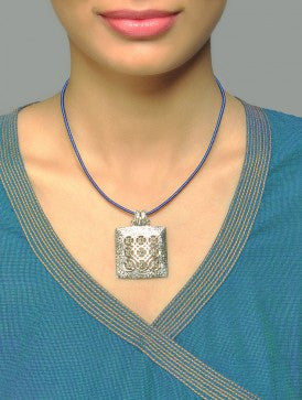 Stunning Kutch inspired big square hammer finish pendant with jali (PB-7109-P)  Necklace, Pendant Sterling silver handcrafted jewellery. 925 pure silver jewellery. Earrings, nose pins, rings, necklaces, cufflinks, pendants, jhumkas, gold plated, bidri, gemstone jewellery. Handmade in India, fair trade, artisan jewellery.