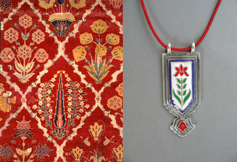 Fabulous, Mughal-inspired, long rectangular enamel pendant