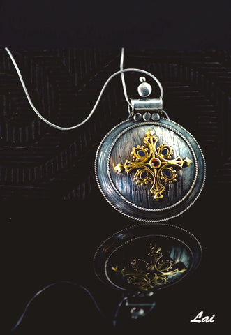Dramatic big round pendant with garnet, blue enamel and gold plated detailing (PB-1450)