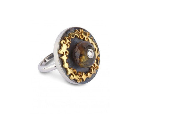 Chic two tone round ring with facetted smoky topaz bead & gold plated detailing  (PB-1466-R)  Ring Sterling silver handcrafted jewellery. 925 pure silver jewellery. Earrings, nose pins, rings, necklaces, cufflinks, pendants, jhumkas, gold plated, bidri, gemstone jewellery. Handmade in India, fair trade, artisan jewellery.