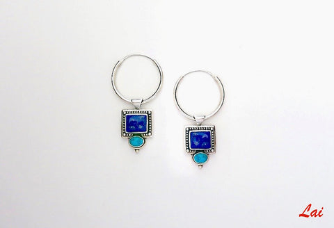 Stunning detachable lapis hoops cum pendant (PB-2764-ER)  Earrings Sterling silver handcrafted jewellery. 925 pure silver jewellery. Earrings, nose pins, rings, necklaces, cufflinks, pendants, jhumkas, gold plated, bidri, gemstone jewellery. Handmade in India, fair trade, artisan jewellery.