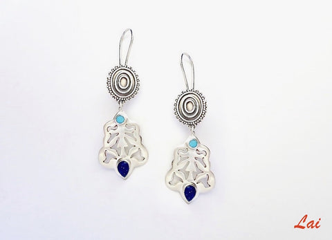Tribal inspired lapis & turquoise cut work earrings (PB-2913-ER)  Earrings Sterling silver handcrafted jewellery. 925 pure silver jewellery. Earrings, nose pins, rings, necklaces, cufflinks, pendants, jhumkas, gold plated, bidri, gemstone jewellery. Handmade in India, fair trade, artisan jewellery.