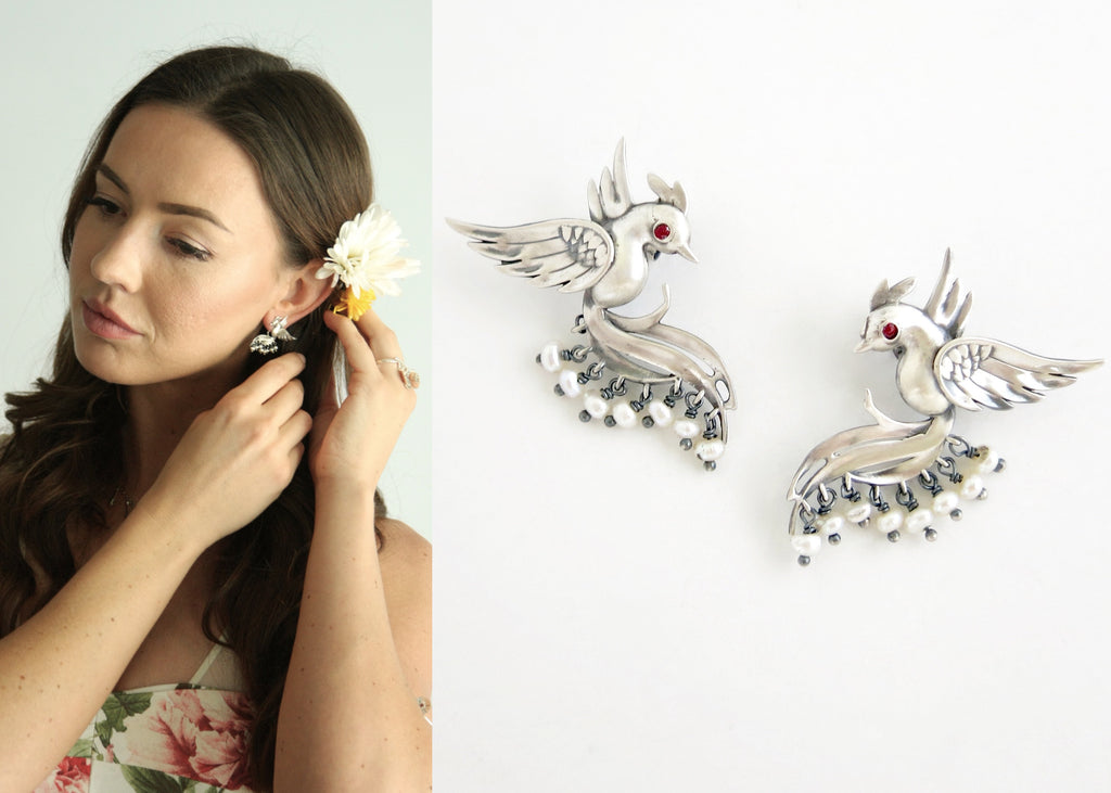 Stunning, pearl fringed, Victorian bird earrings (PB-10457-ER)