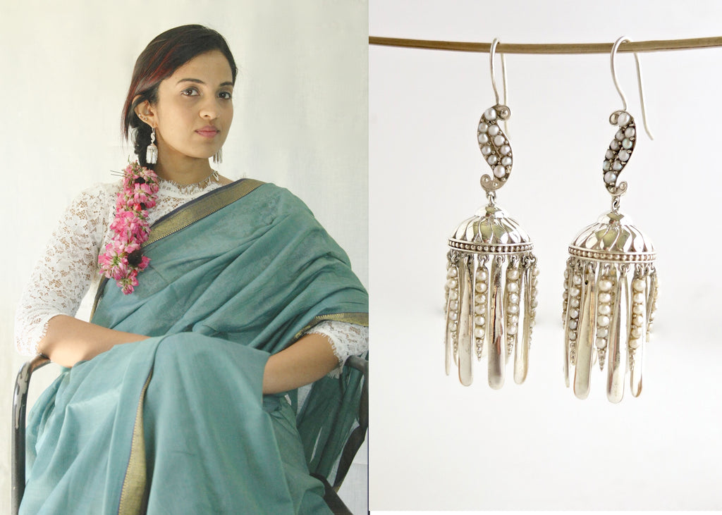 Exquisite, pearl encrusted Victorian jhumkas (PB-10458-ER)  Earrings Sterling silver handcrafted jewellery. 925 pure silver jewellery. Earrings, nose pins, rings, necklaces, cufflinks, pendants, jhumkas, gold plated, bidri, gemstone jewellery. Handmade in India, fair trade, artisan jewellery.