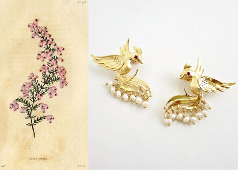 Timeless, pearl fringed, gold plated Victorian bird earrings [PB-10457-ER (G)]
