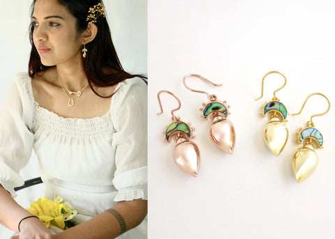 Minimalist, gold plated, Victorian, drop earrings with abalone