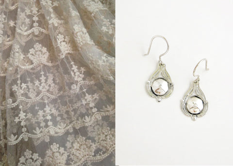 Dainty, facetted center, filigree Victorian earrings (PB-10452-ER)