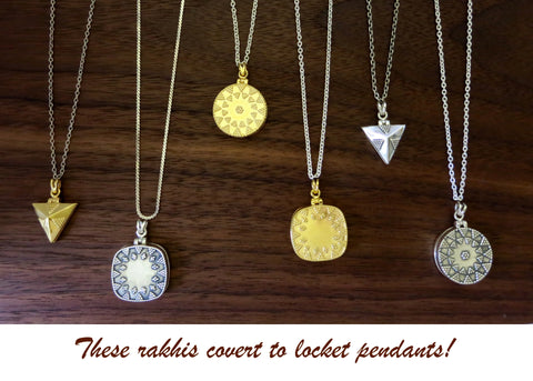 Triangular locket rakhi (PBR-010)  Rakhi Sterling silver handcrafted jewellery. 925 pure silver jewellery. Earrings, nose pins, rings, necklaces, cufflinks, pendants, jhumkas, gold plated, bidri, gemstone jewellery. Handmade in India, fair trade, artisan jewellery.