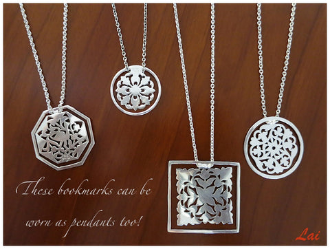 Octagonal, crane design, cutwork Bookmark  Bookmarks Sterling silver handcrafted jewellery. 925 pure silver jewellery. Earrings, nose pins, rings, necklaces, cufflinks, pendants, jhumkas, gold plated, bidri, gemstone jewellery. Handmade in India, fair trade, artisan jewellery.