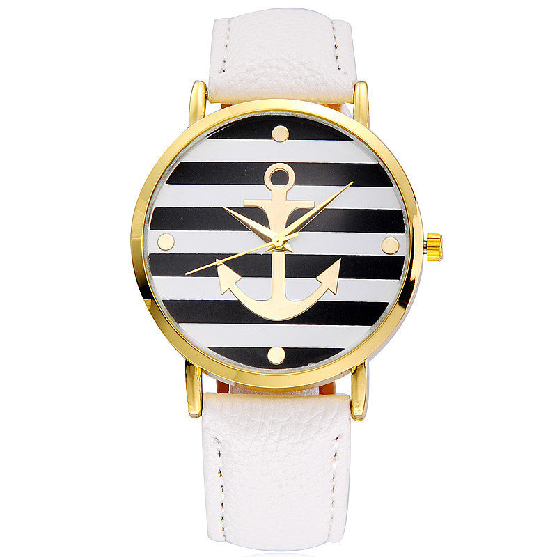 White and gold anchor watch
