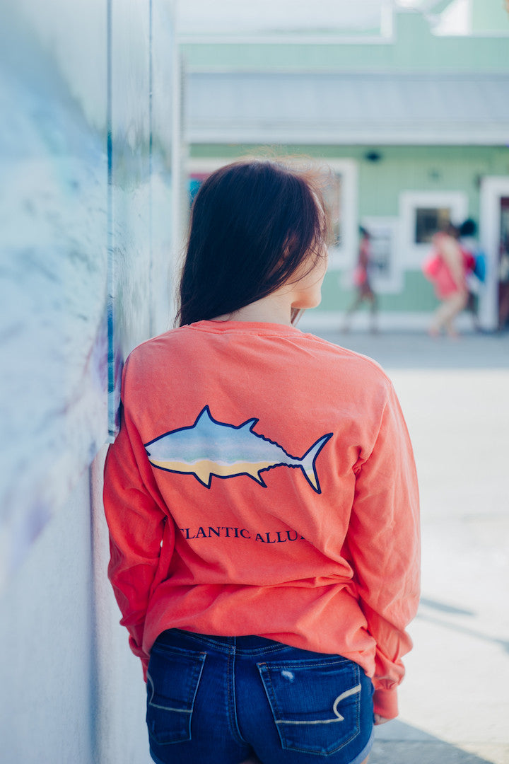 Pocketed Long-Sleeve Shirt Beach Fish design Bright Salmon color