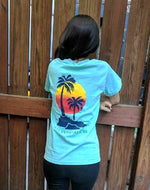 Palm Tree Design Sunset Design Short-Sleeve Chalky Mint color