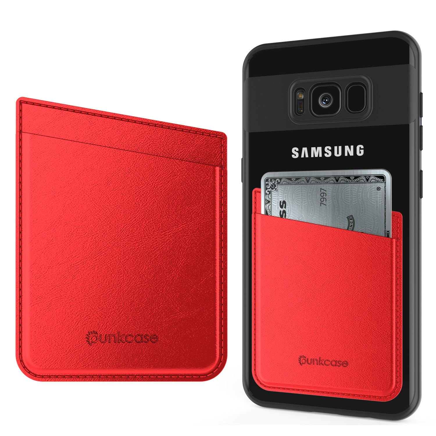 PunkCase CardStud Deluxe Stick On Wallet | Adhesive Card Holder Attachment for Back of iPhone, Android & More | Leather Pouch | [Red]