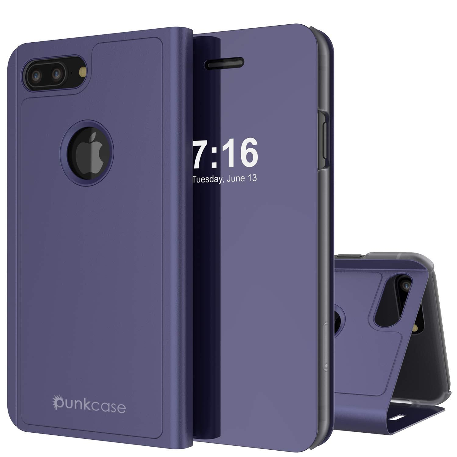 Punkcase iPhone 8+ Plus Reflector Case Protective Flip Cover [Purple]