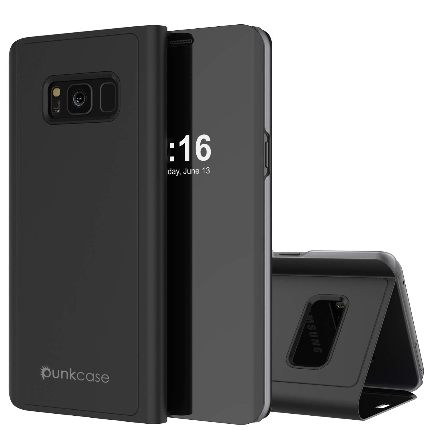 Punkcase S8 Plus Reflector Case Protective Flip Cover [Black]