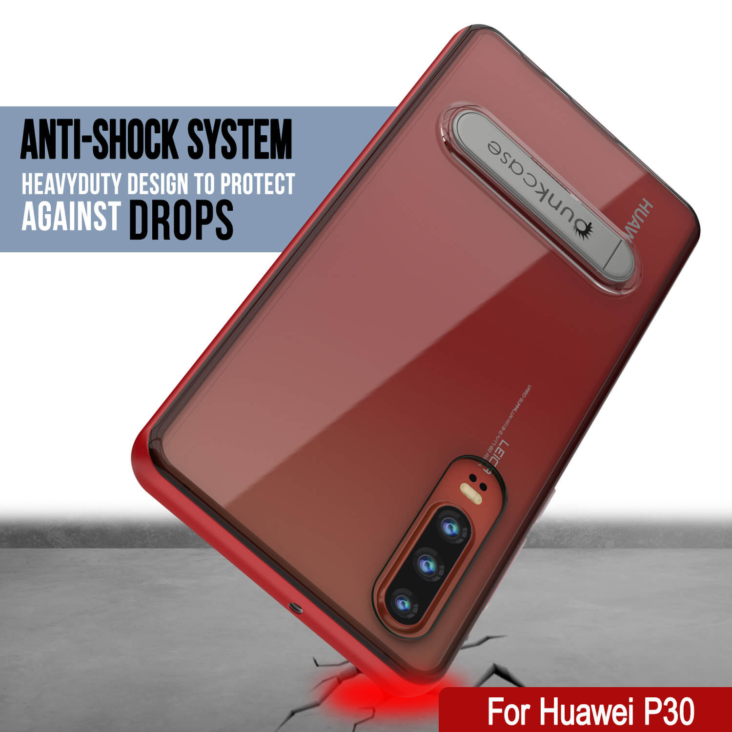 Punkcase P30 Pro Case [Lucid 3.0 Series] Armor Cover [Red]