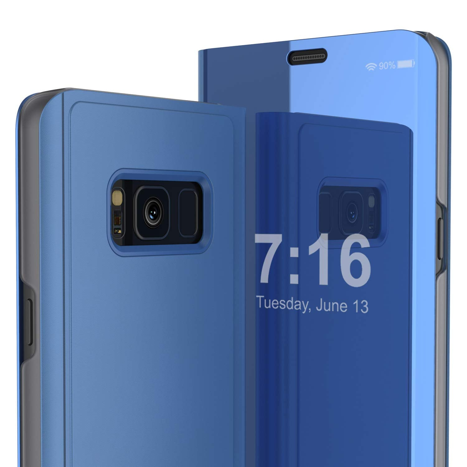 Punkcase S8 Plus Reflector Case Protective Flip Cover [Blue]