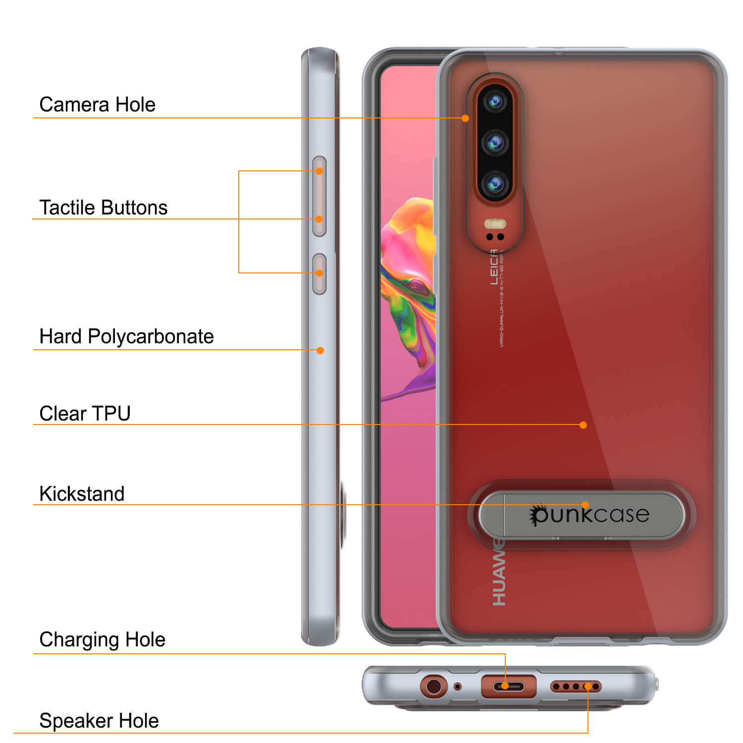 Punkcase P30 Pro Case [Lucid 3.0 Series] Armor Cover [Silver]