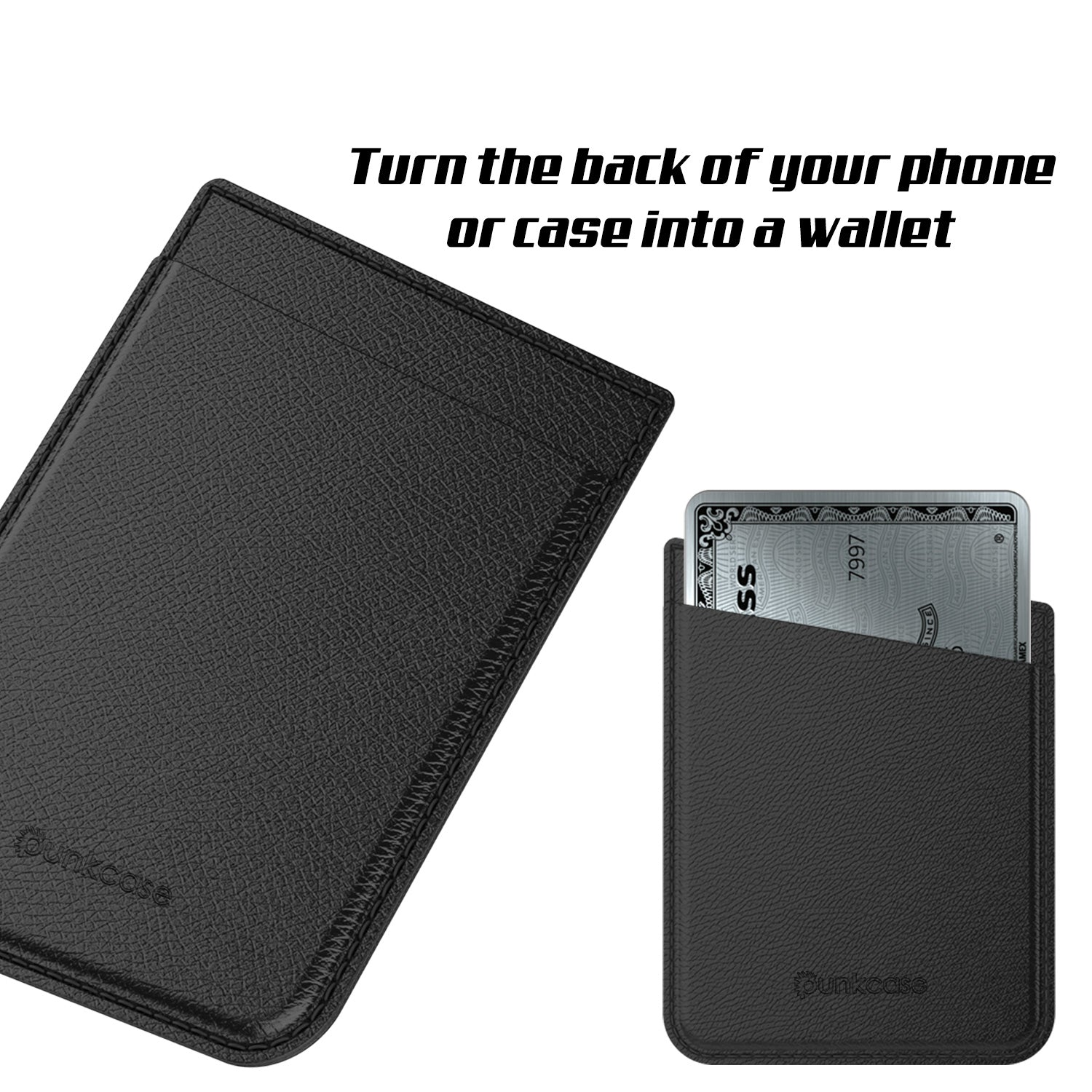 PunkCase CardStud Deluxe Stick On Wallet | Adhesive Card Holder Attachment for Back of iPhone, Android & More | Leather Pouch | [Black]