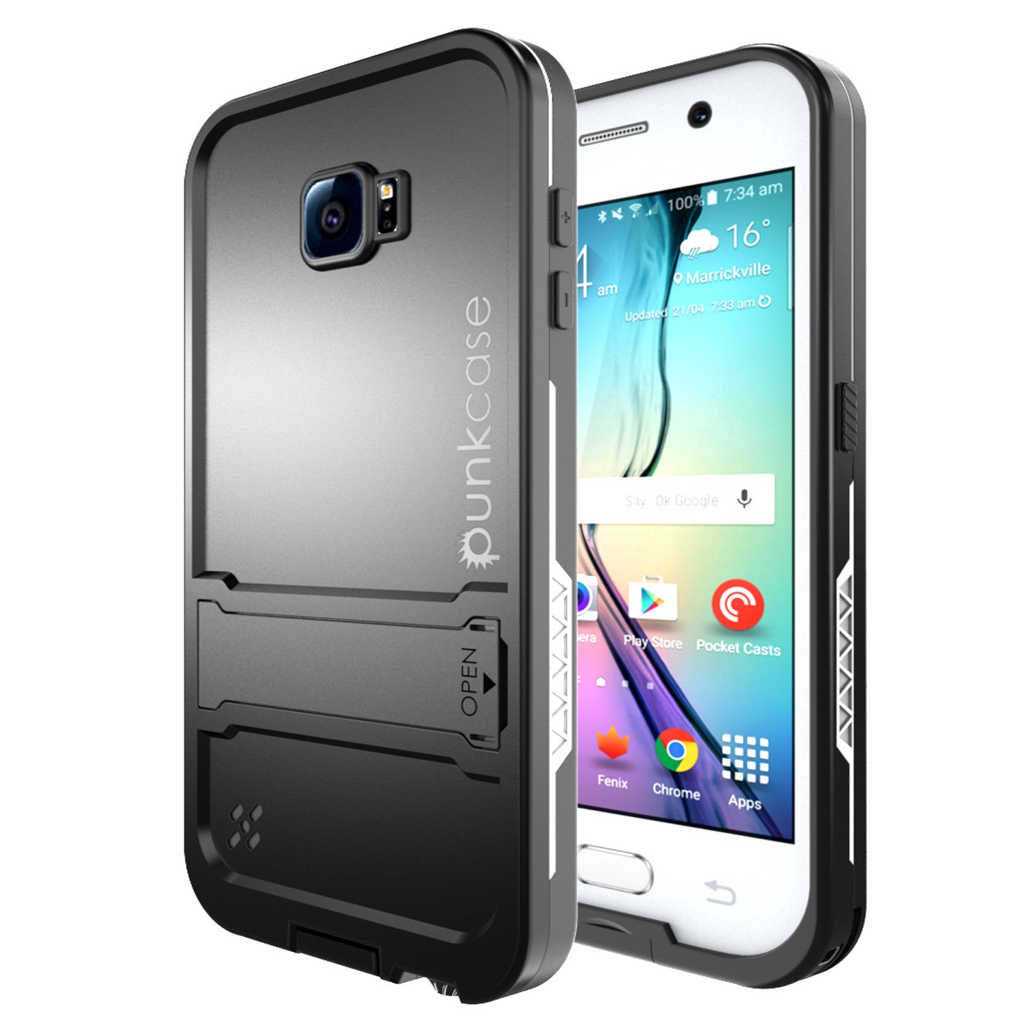 Galaxy S6 Waterproof Case, Punkcase SpikeStar White Water/Shock/Dirt/Snow Proof | Lifetime Warranty