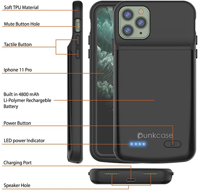 iPhone 11 Pro Battery Case, PunkJuice 5000mAH Fast Charging Power Bank W/ Screen Protector | [Black]